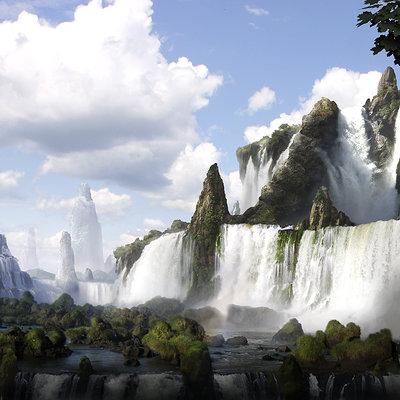 Nicolas zuriaga thewaterfall matte painting