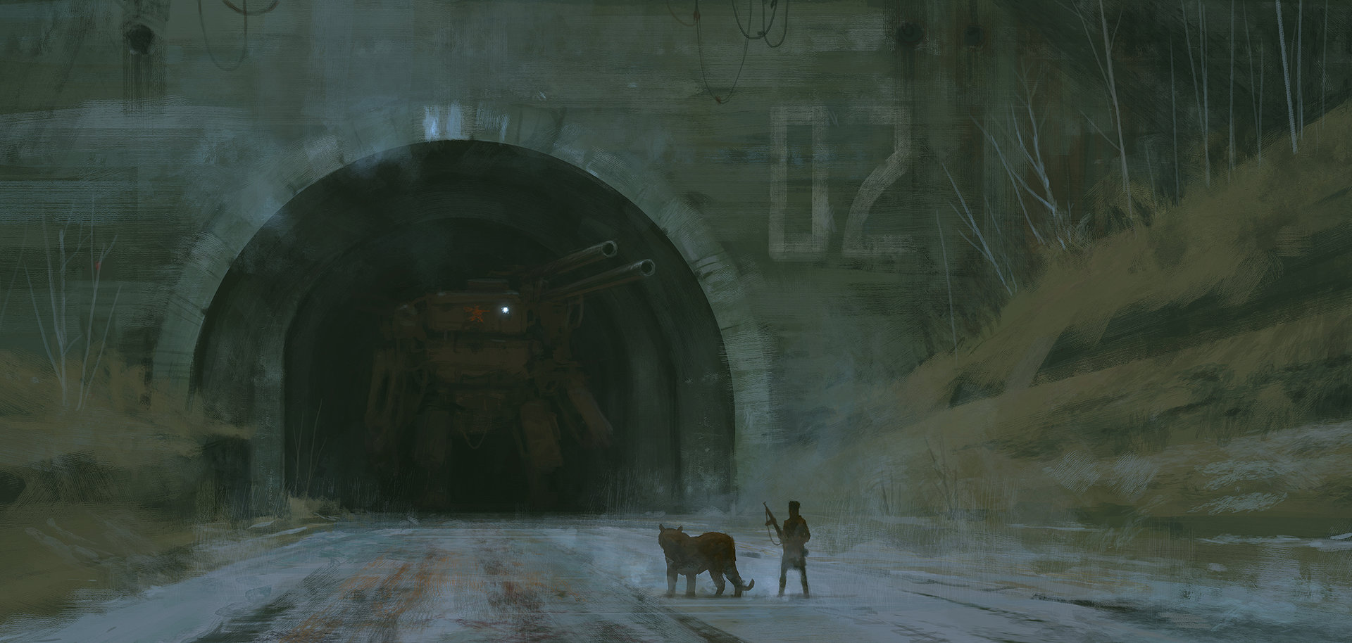 Jakub rozalski tunel and mech 01s