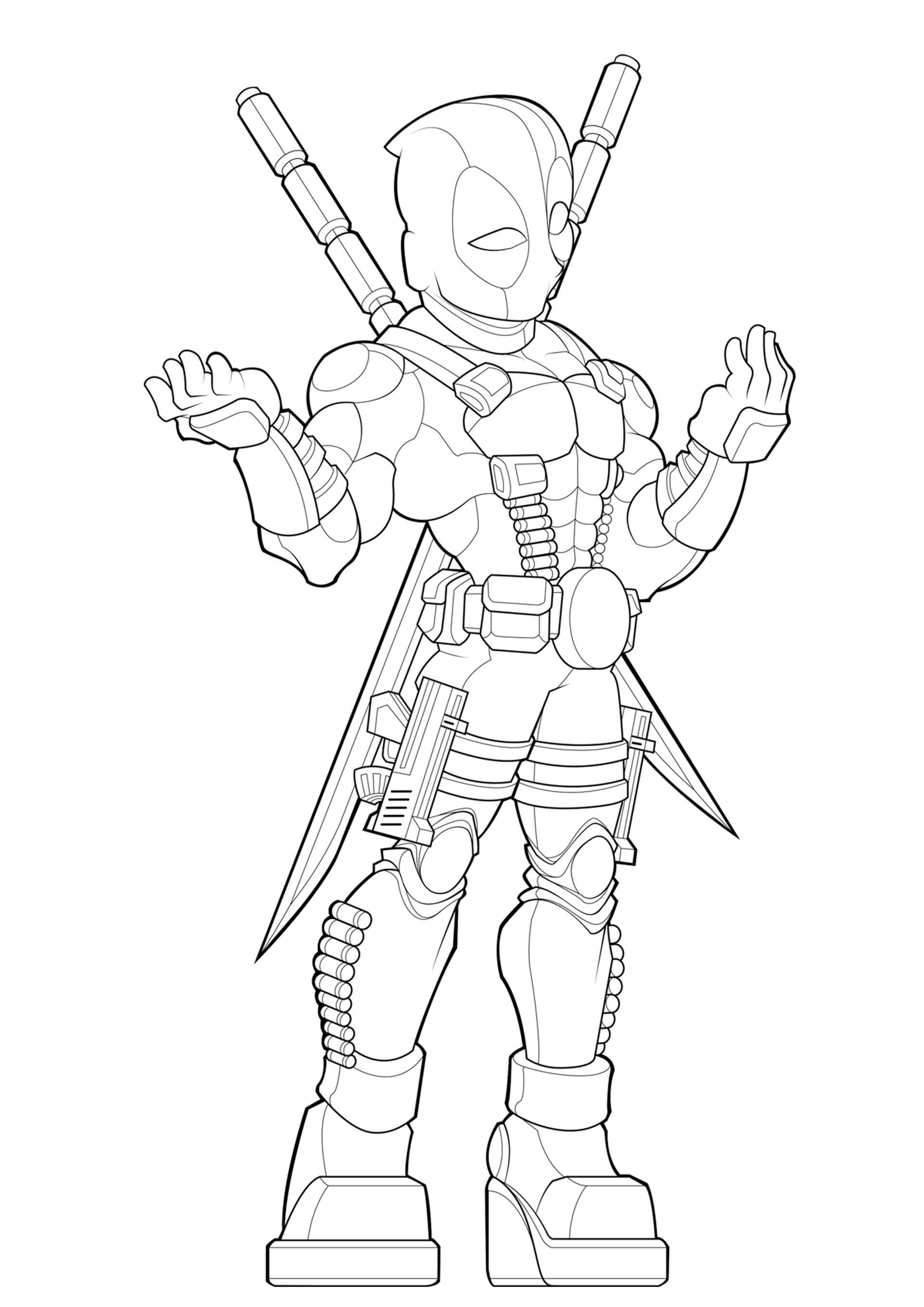 Deadpool Coloring Pages: Deadpool Coloring Pages Sketch Coloring Page