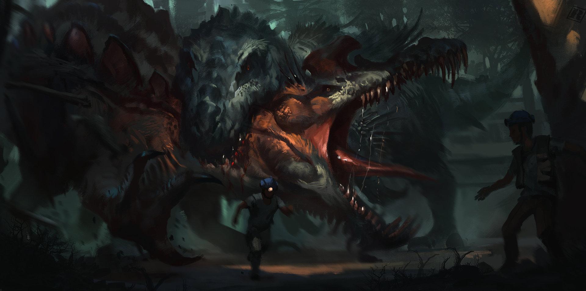 Therospinax vs Belial  https://www.artstation.com/artwork/dino-hybrid-belial