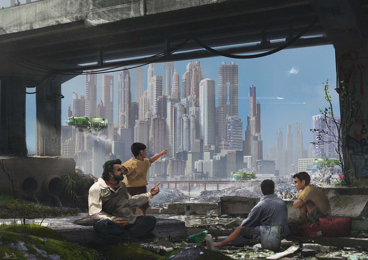 You can see a father trying to explain to his sons what are they looking at the sky, space stations and supersonic planes. things that contrast with the poverty world in which they live.