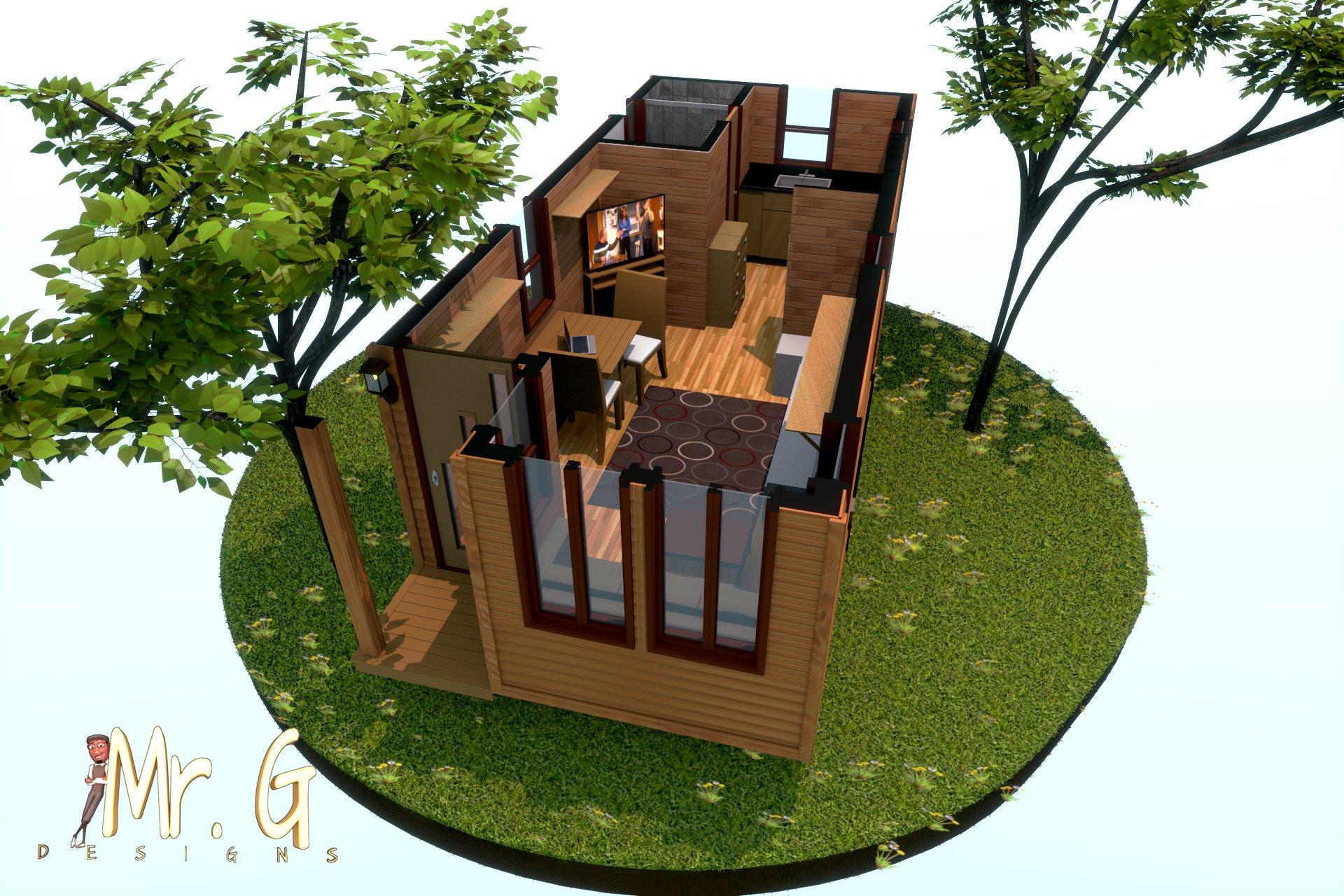 garrett s tiny house 3d floor plan model. Black Bedroom Furniture Sets. Home Design Ideas