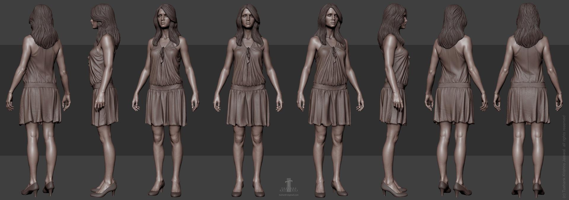 Tushank k jaiswal anatomy study female clothing 3