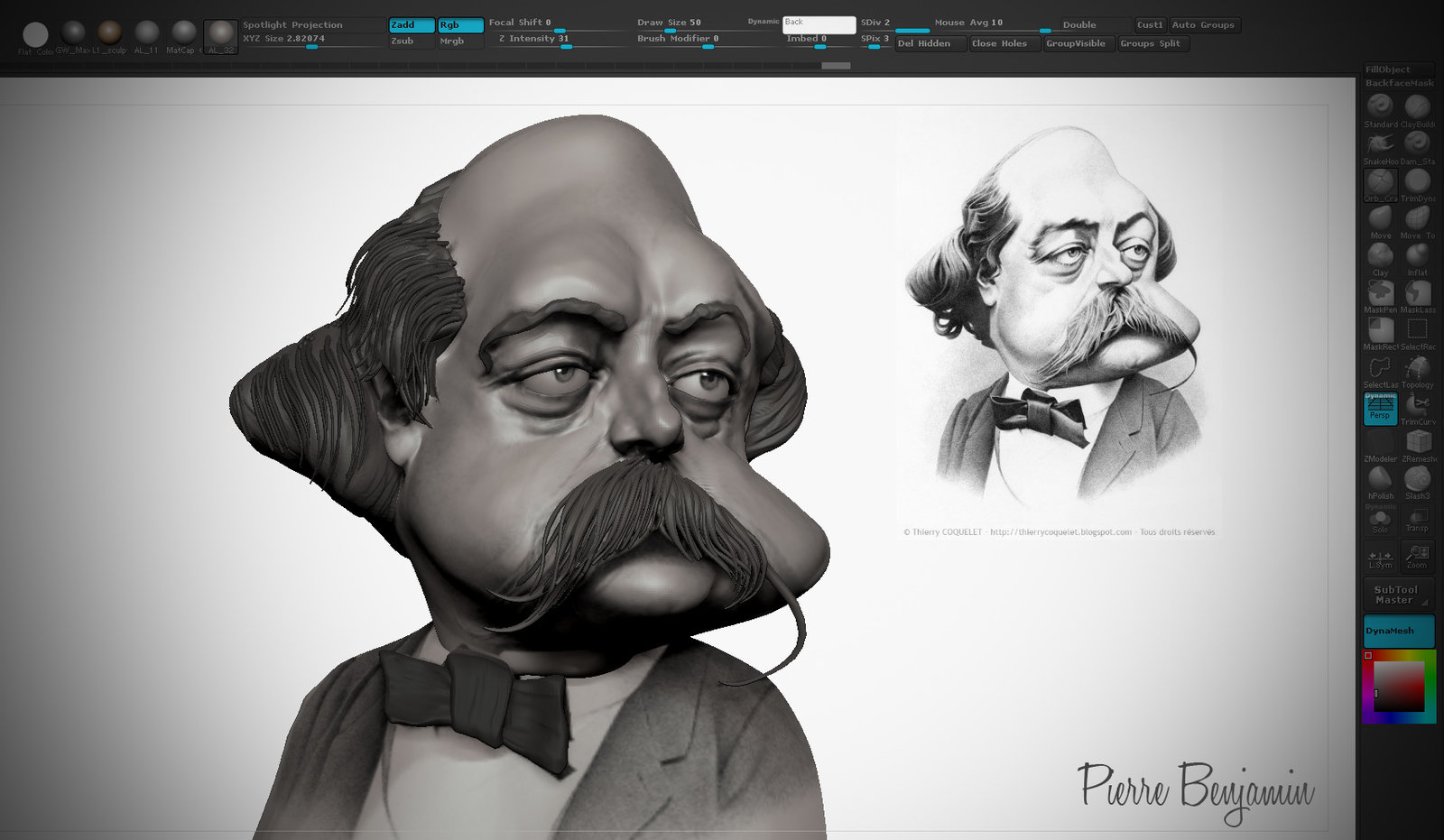 Speed sculpt zbrush of Gustave Flaubert based on 2D concept by Thierry Coquelet