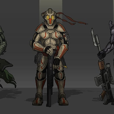Travis lacey sci fi soldiers concept bounty hunters art concept art design roughs