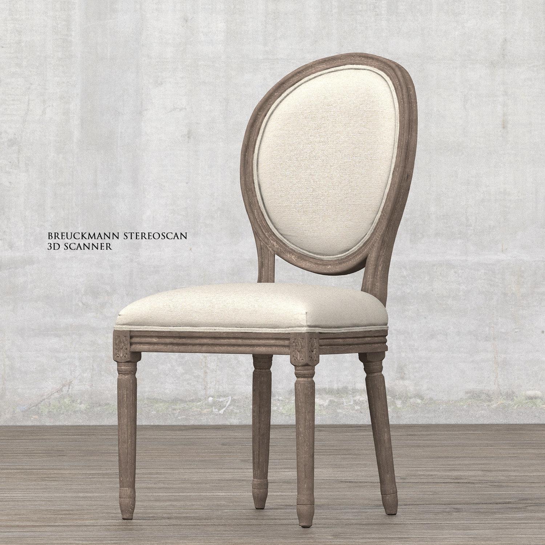 ArtStation Vintage French Round Fabric Side Chair Restoration