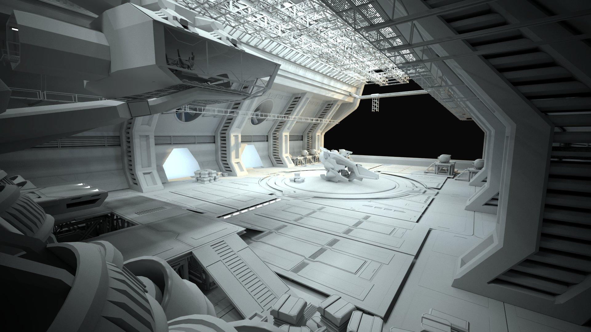 Bosko ognjevic sci fi hangar wip for Futuristic control room