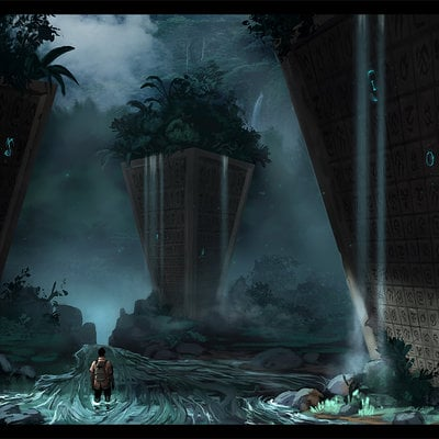 Travis lacey jungle concept art ravenseyestudios pillars waterfalls fantasy glowing runes digital art conceptual artist designer design waterfall colorful color web