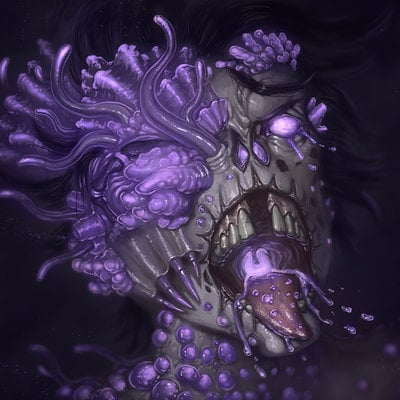 Travis lacey zombie mutation horror concept design conceptual artist travis lacey purple creepy scary holloween art 2d digital web