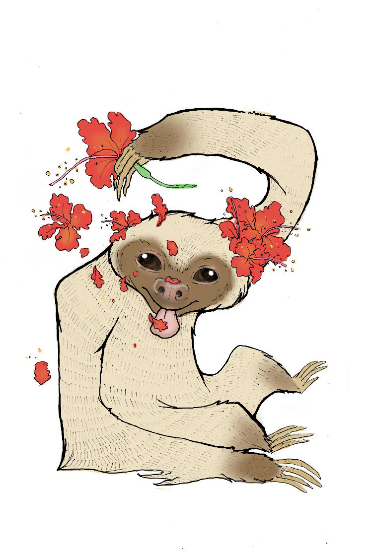 """""""Sloths and Hibiscus"""", her fav animal of all time."""