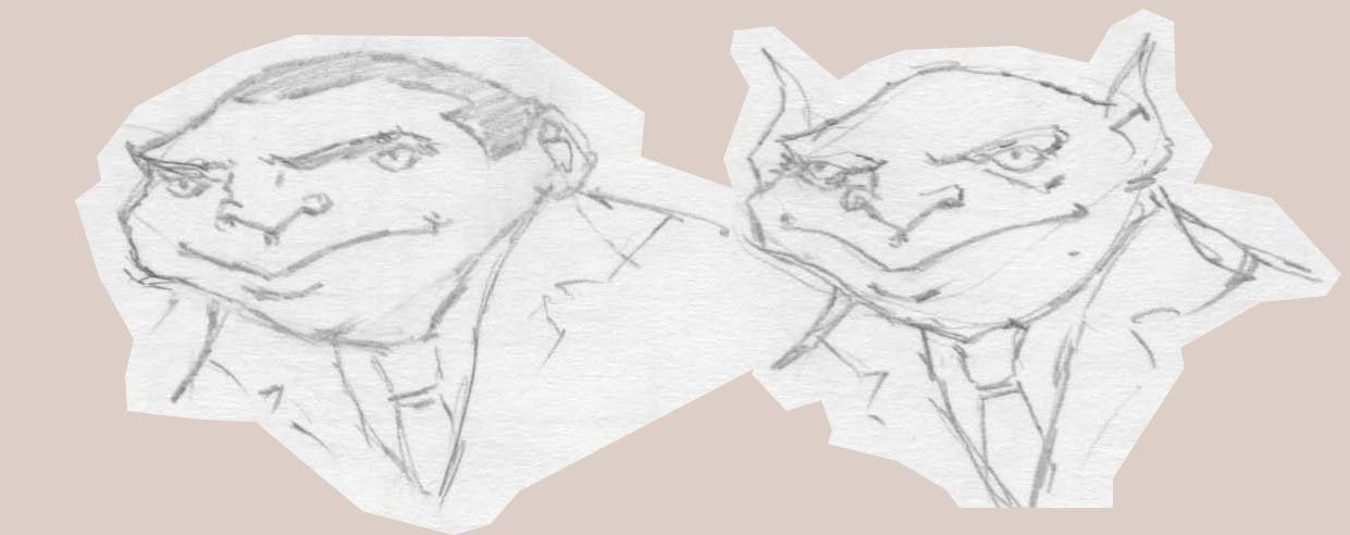 Started out with the mobster sketch on the left. Then, as a joke, I turned him into a mobster goblin. That goblin sketch somehow cracked me up every time I looked at it, so I decided to turn him into a proper piece.