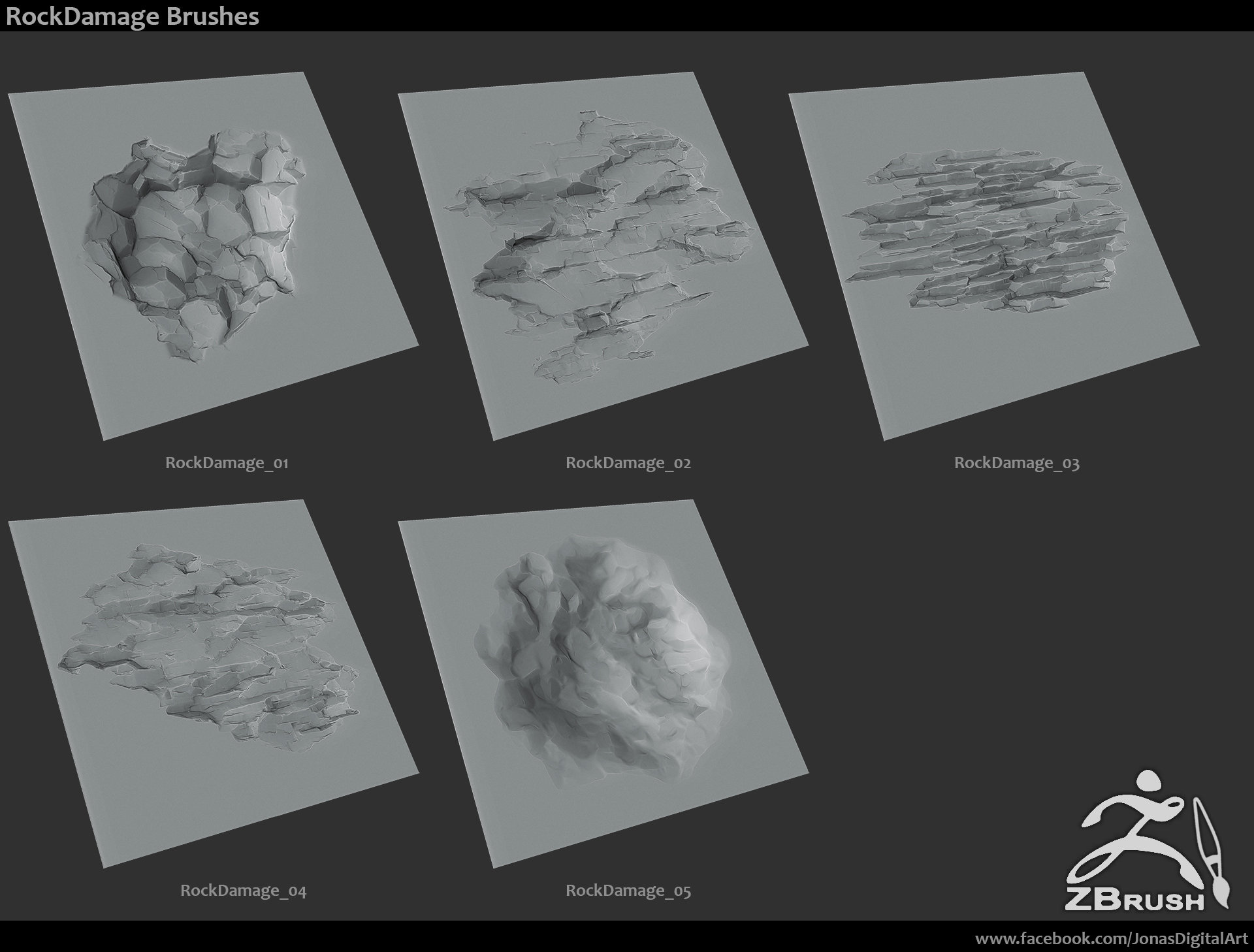 Artstation 18 zbrush sculpted rock brushes jonas ronnegard zbrush rock brush pack 01 baditri Images