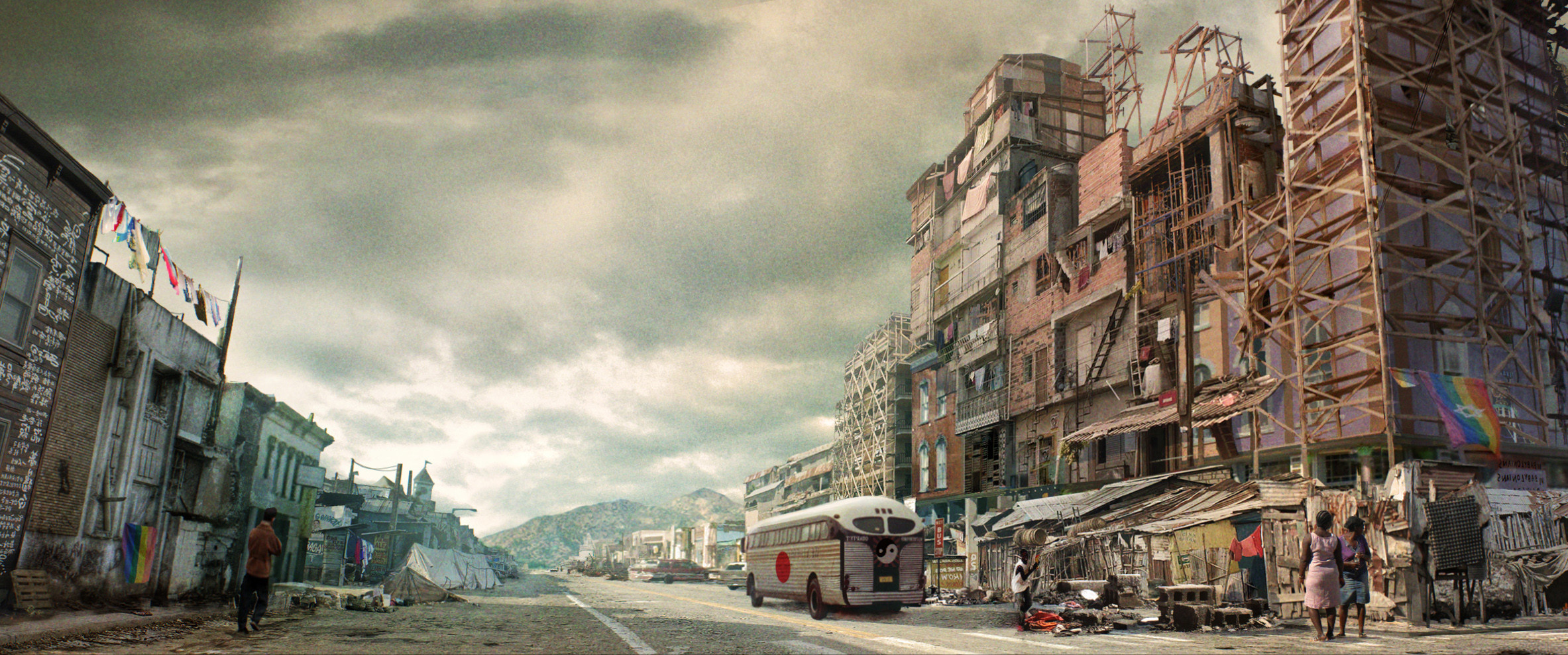 Concept Art for Canon City in Axis occupied America. Placed in the middle between the Nazi and the Japanese protectorates, the town has become a home for all the outcast and refugees from the two dictatorships.