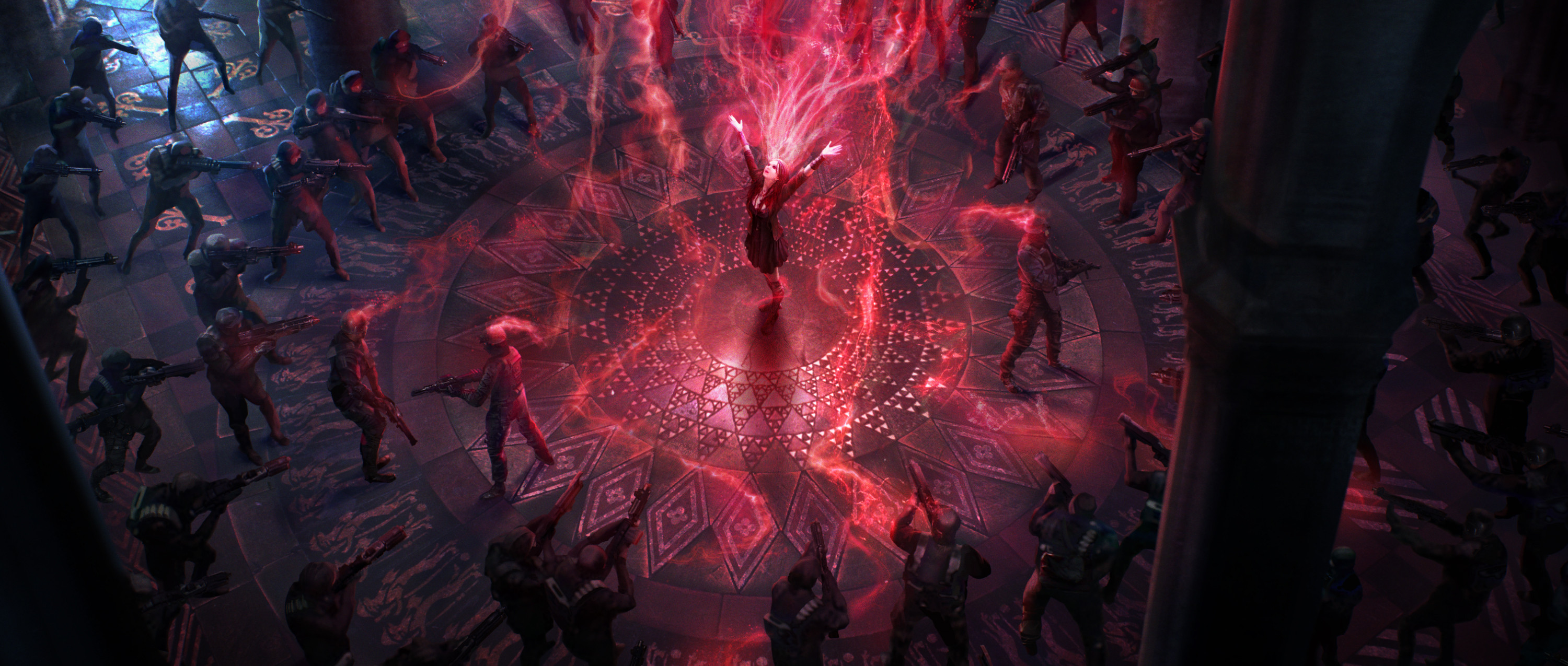 Wanda uses her mind powers on ostile targets, making them fight each others. While there is a similar church in the movie, the mind controlling action happens outside of it, when the she compels the Sokovians to escape.