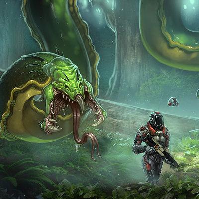 Travis lacey hunted concept creature art design snake alien scifi travis lacey conceptual