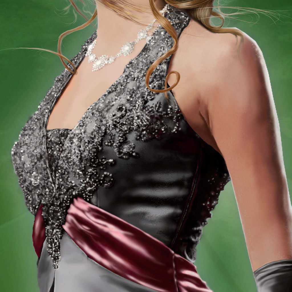 Close up  of dress beadwork