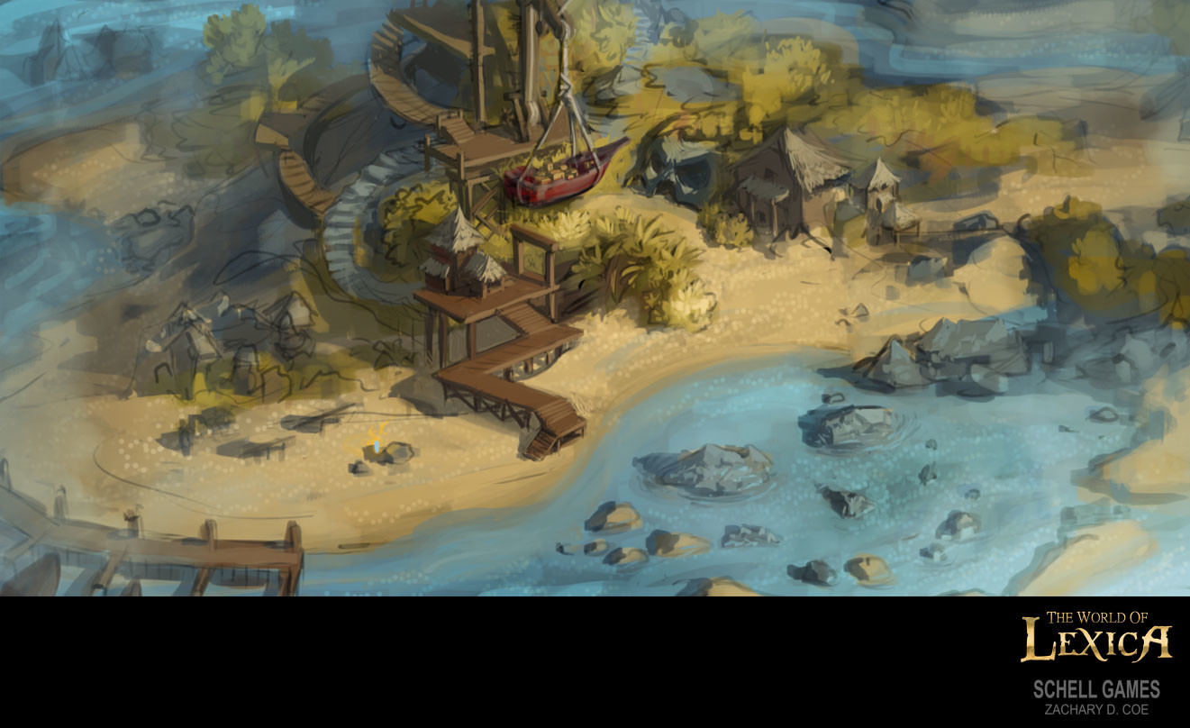 DESERTED PIRATE ISLAND SKETCH #1 by Zachary D. Coe