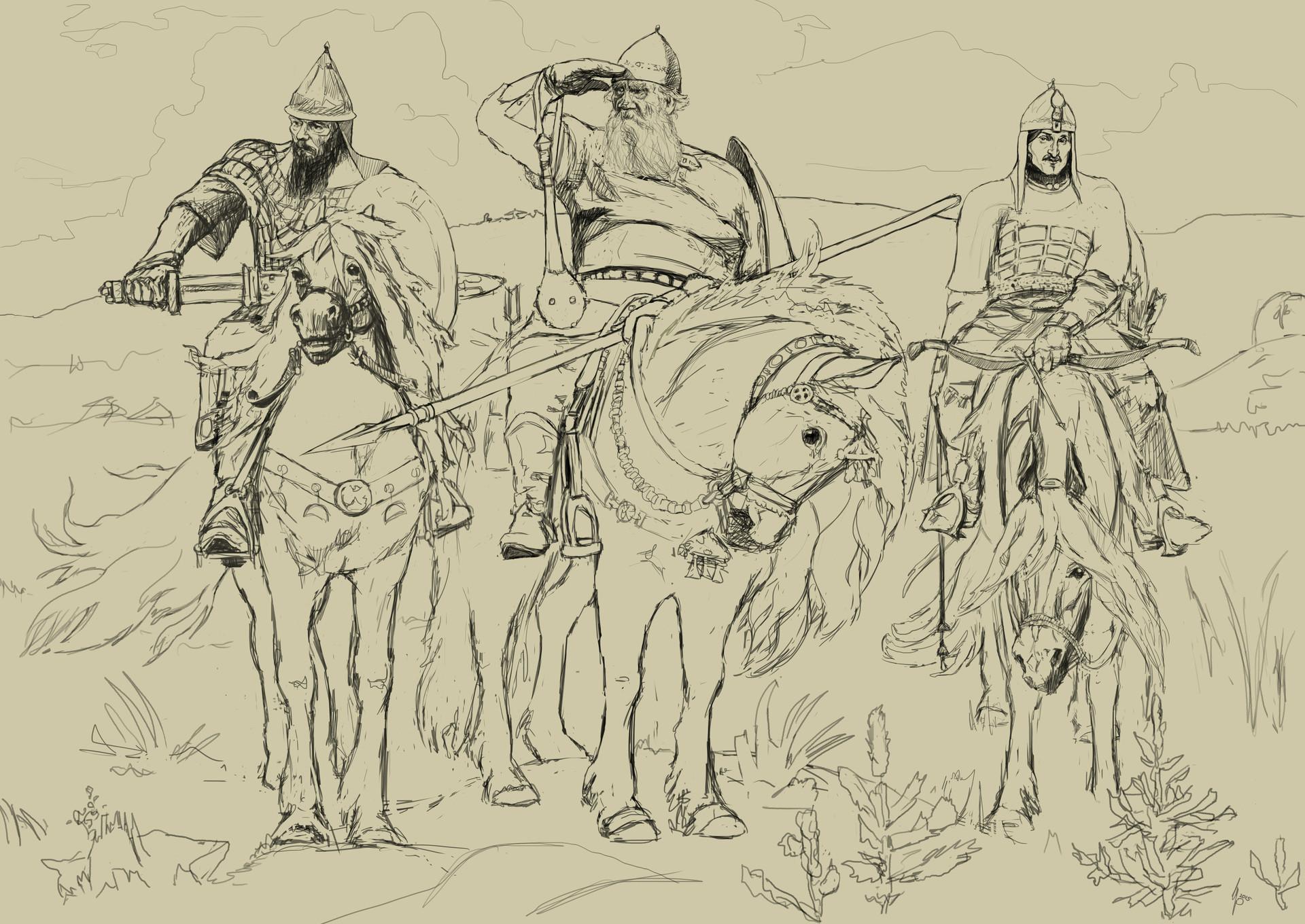 Днем наташи, три богатыря картинки карандашом