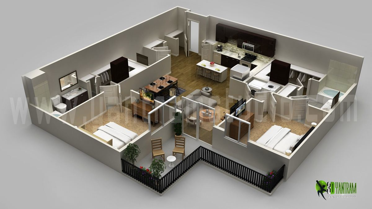 Modern house 3d floor plan usa