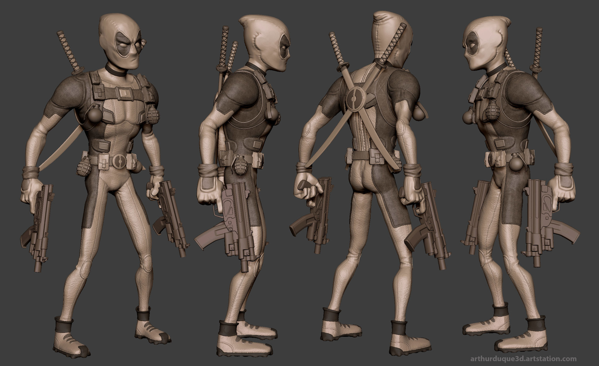 Arthur duque deadpool model zbrush