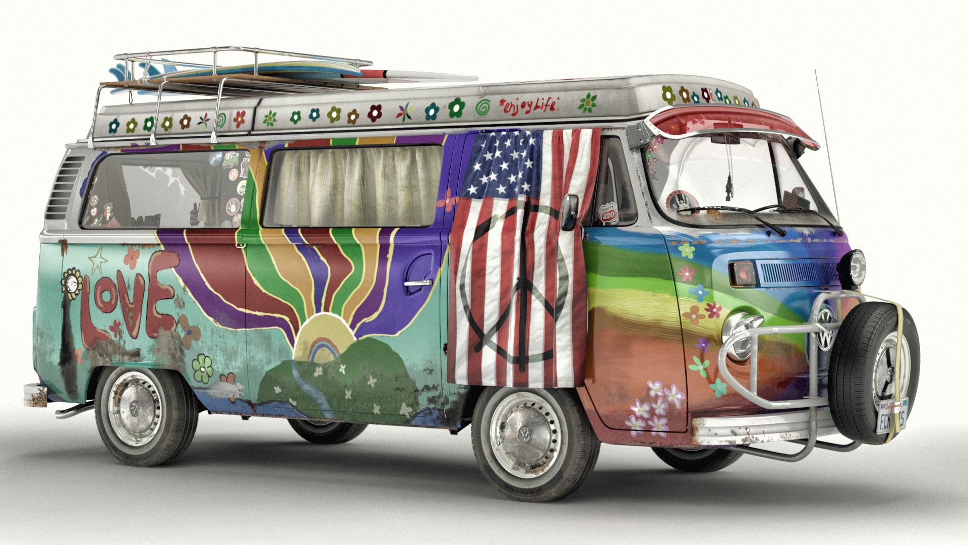 artem yuldashev vw t2 hippie van. Black Bedroom Furniture Sets. Home Design Ideas
