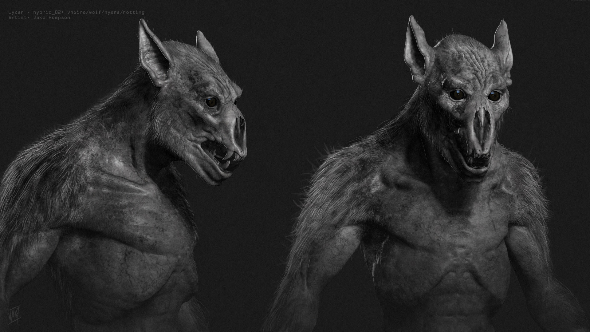 Lycan/Zombie Hyena hybrid sculpt- sketch and  paint over.