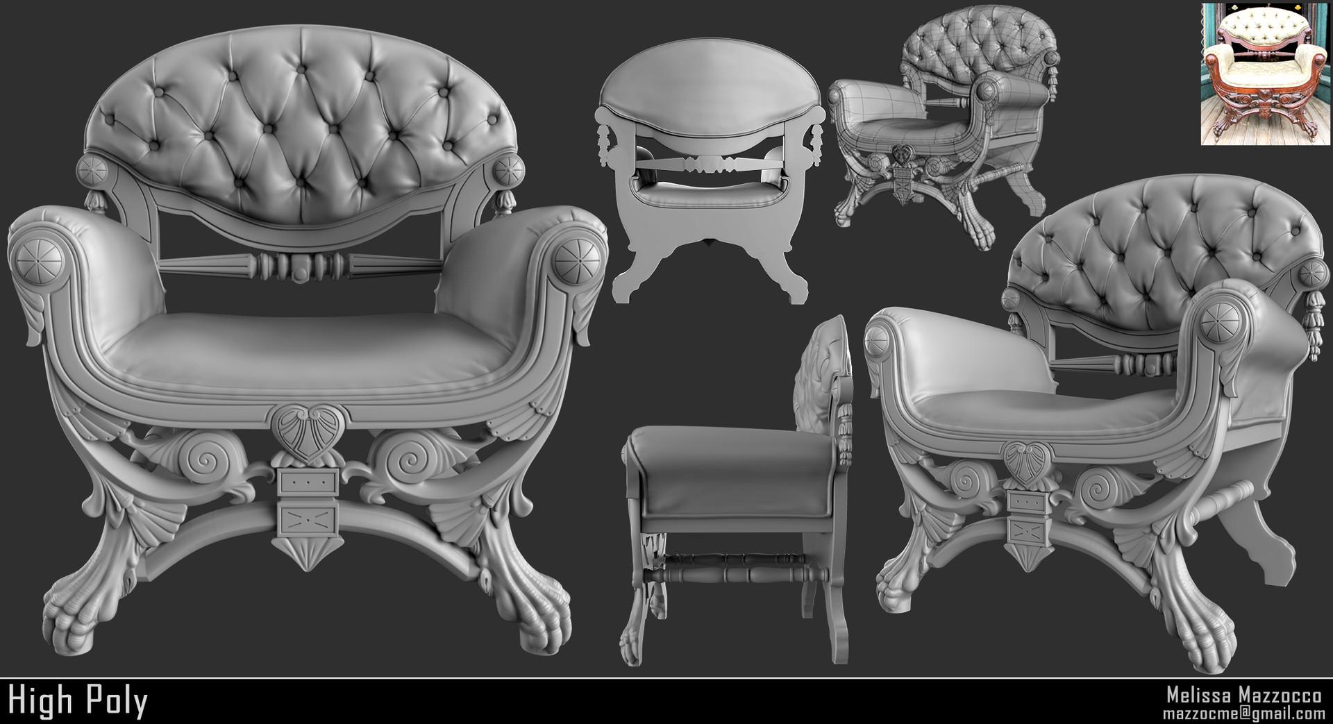 Melissa mazzocco victorian boudoir chair high poly