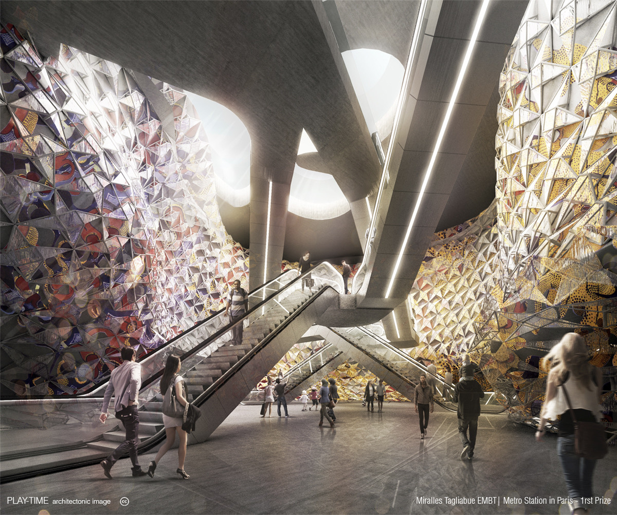 Play time architectonic image miralles tagliabue embt metro station in paris