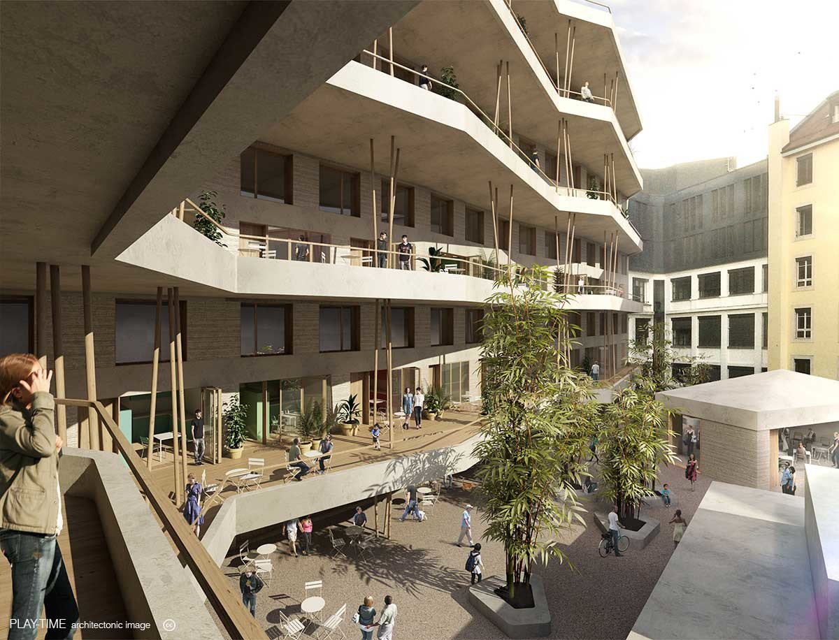 Play time architectonic image bcr architects youth residence 3rd prize