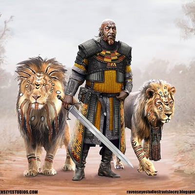 Travis lacey black african warrior fantasy concept art lion