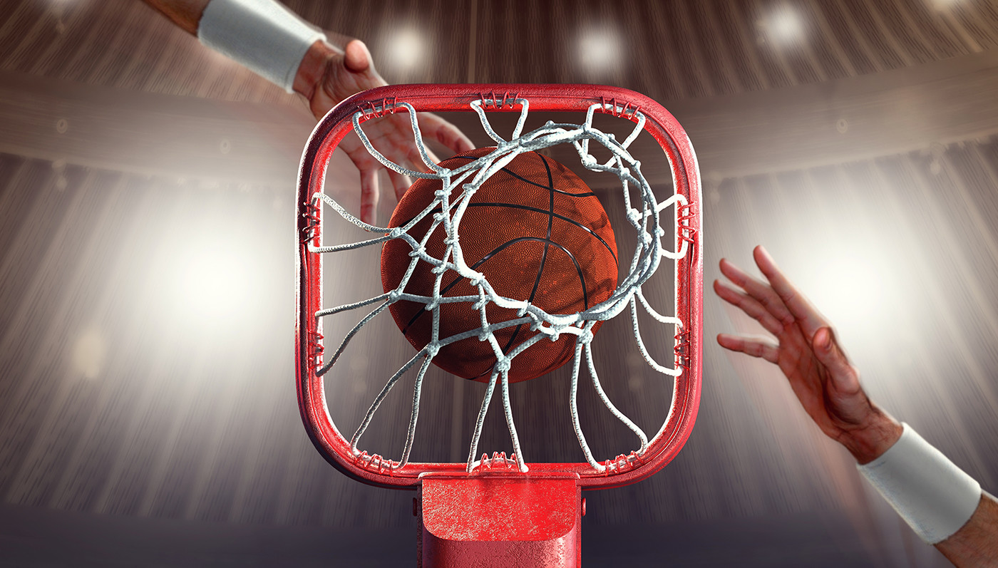 Tomislav zvonaric basketball rim 3d icon hall scene eith hands