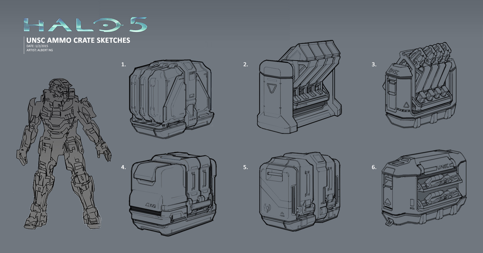 Albert ng unsc ammo crate sketches