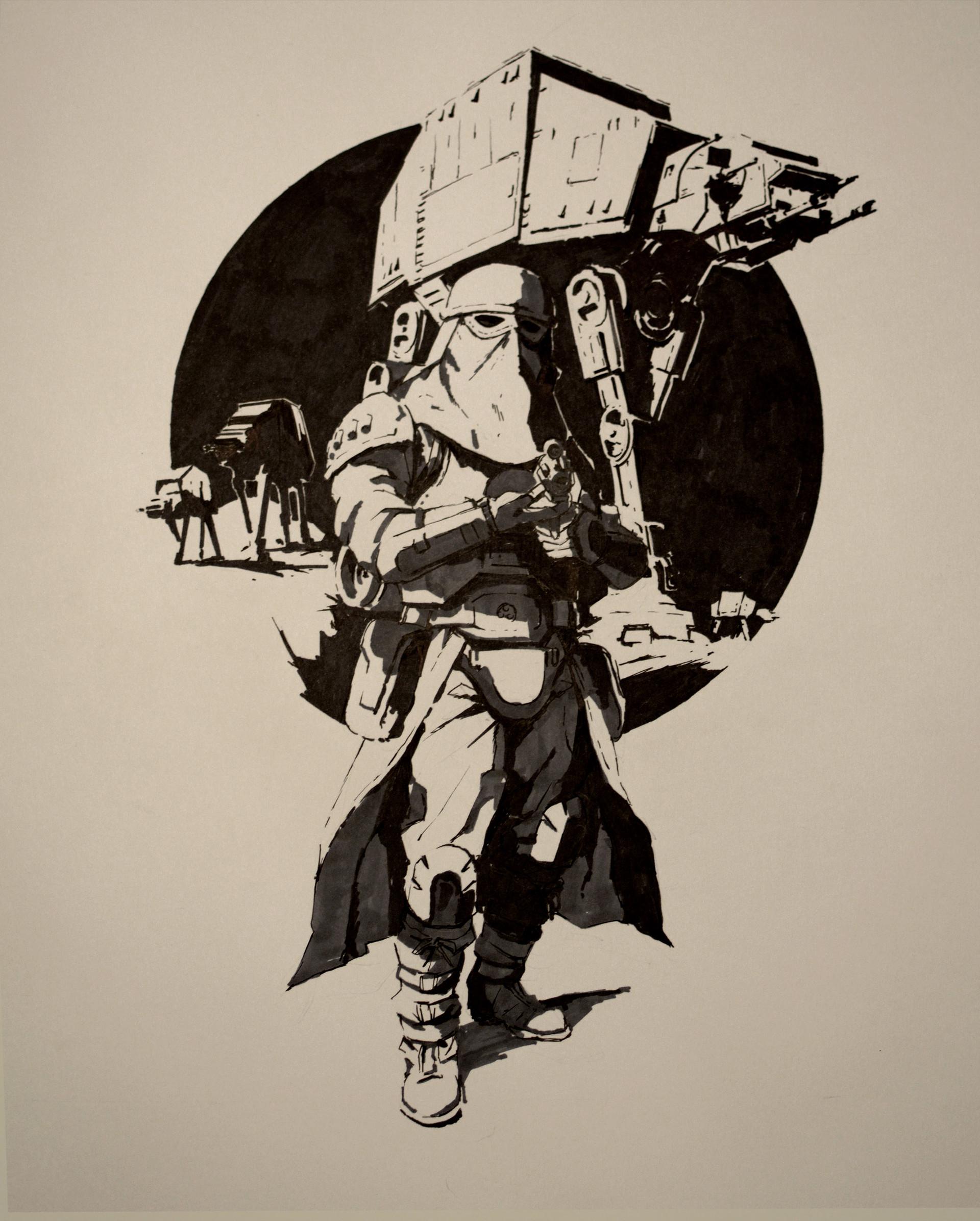 artstation snowtrooper ink on paper guillaume menuel