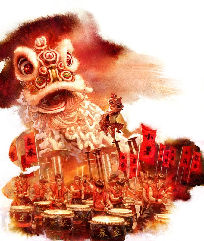 Kinsun loh lion and drum