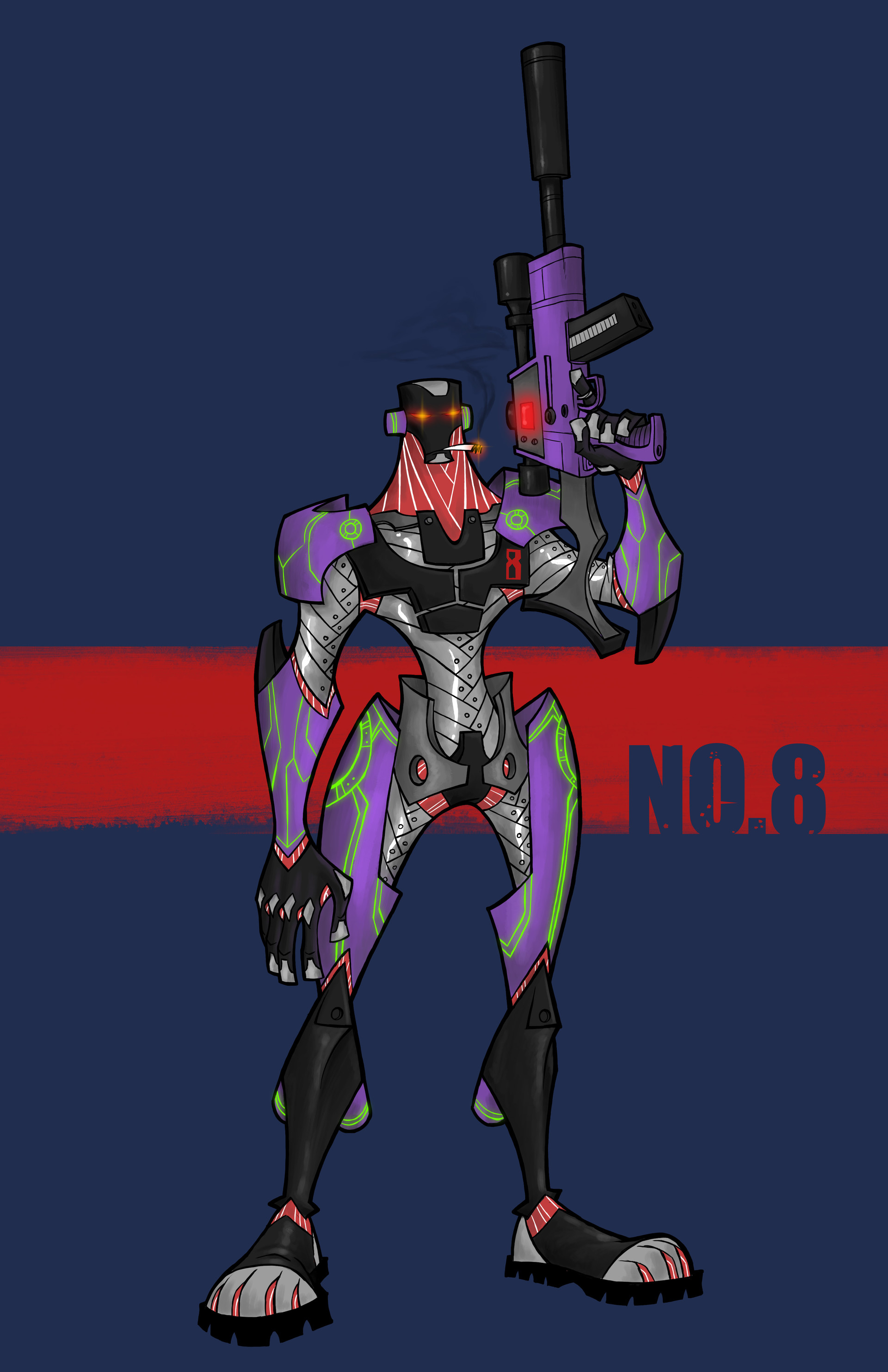 The hero, Assassin No. 8 is the 8th iteration in F.O.R.C.E's advanced cyber-soldier program and the most advanced artificial being in existence. He, along with his comrades, fights to protect the world of the future.