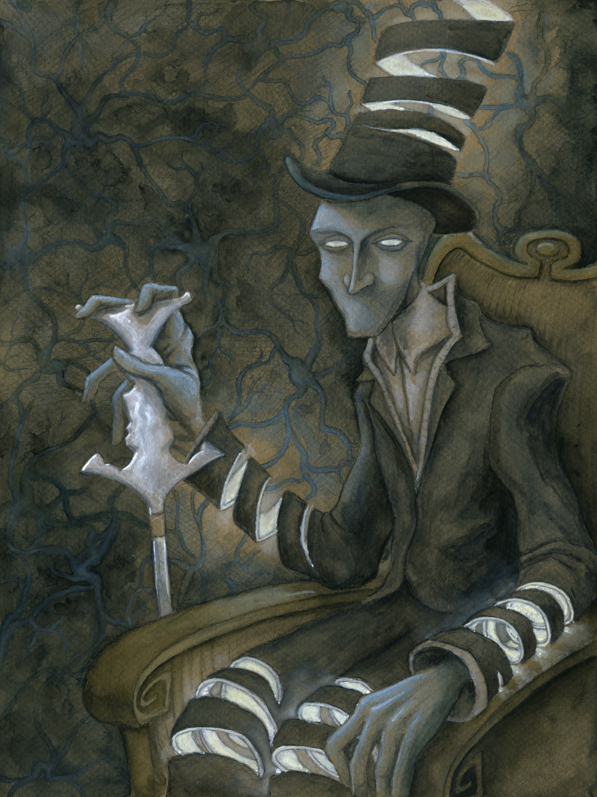 Patrick weck dr nicomachus graphite white charcoal and watercolor on toned paper