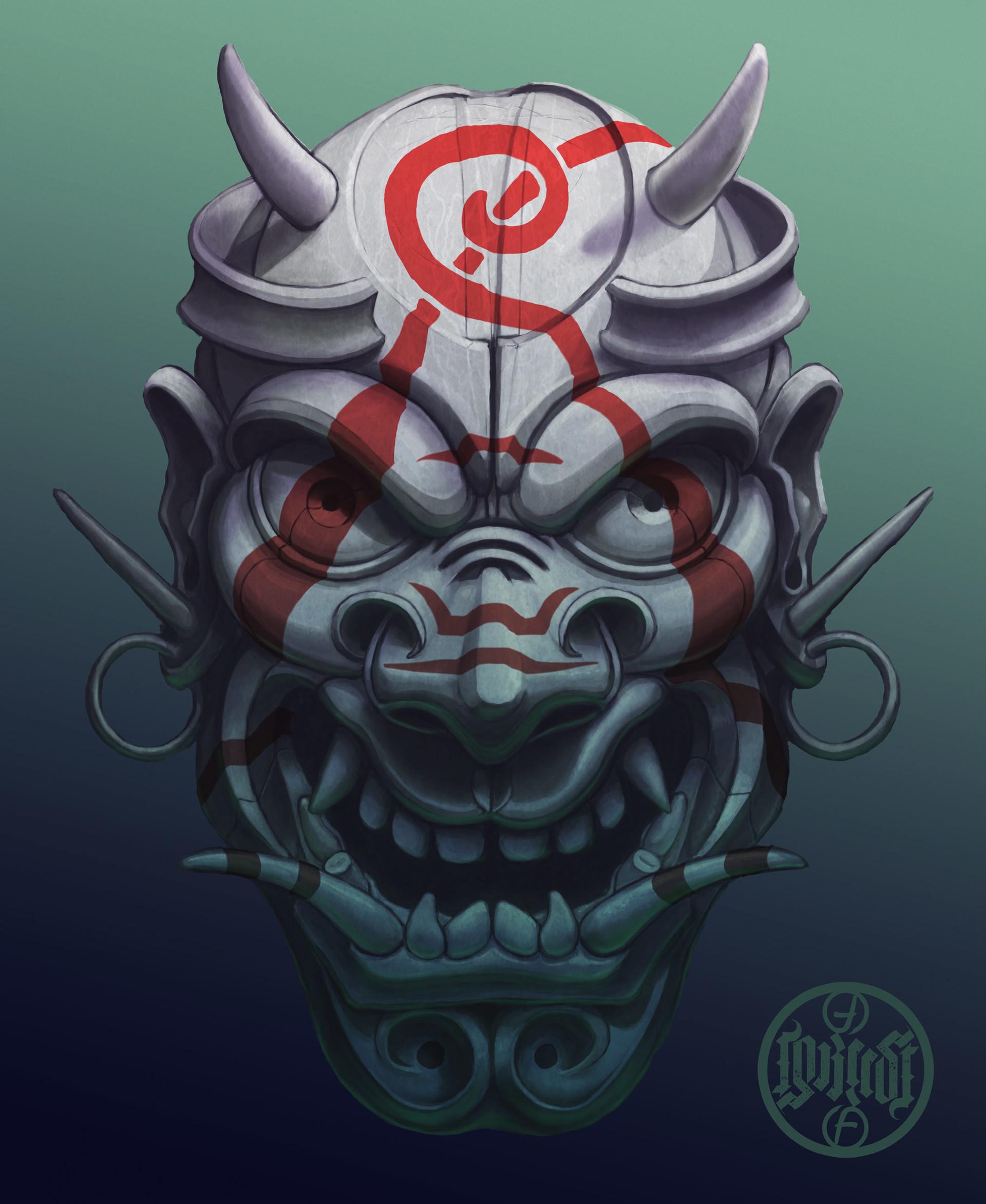 Artstation Evil Painted Samurai Mask Mate Lukacs