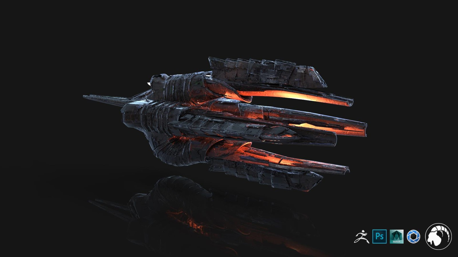 An alien ship concept model.