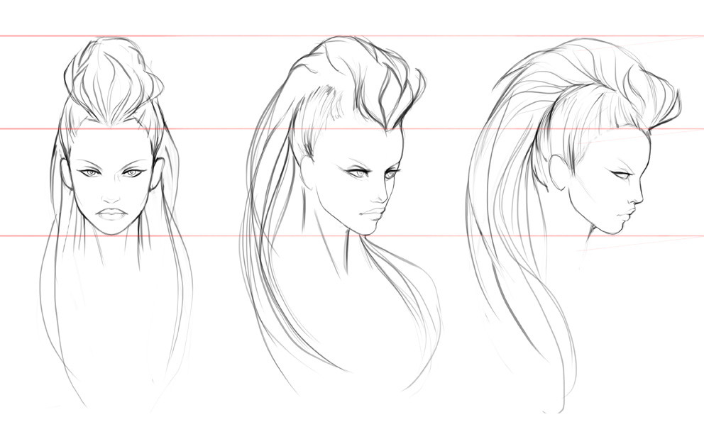 Salena barnes diana hair sketches 01