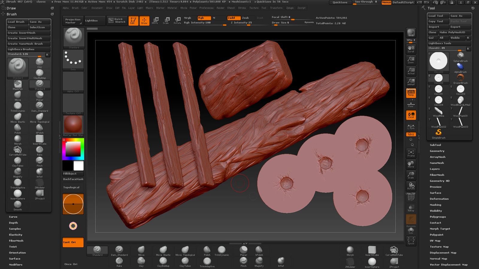Wood Planks and nailed nails made in Zbrush