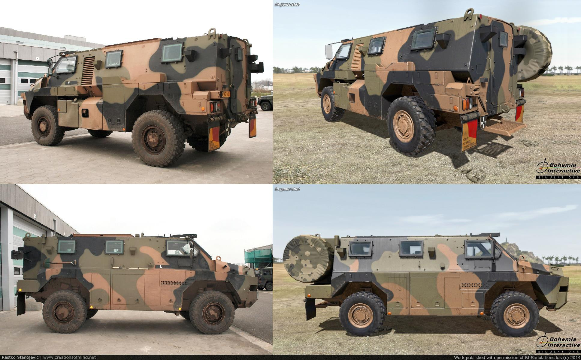 Bushmaster real life reference (left) vs game model (right) - 2014