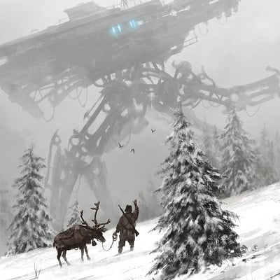 Jakub rozalski factory illustration 09 wintermechs