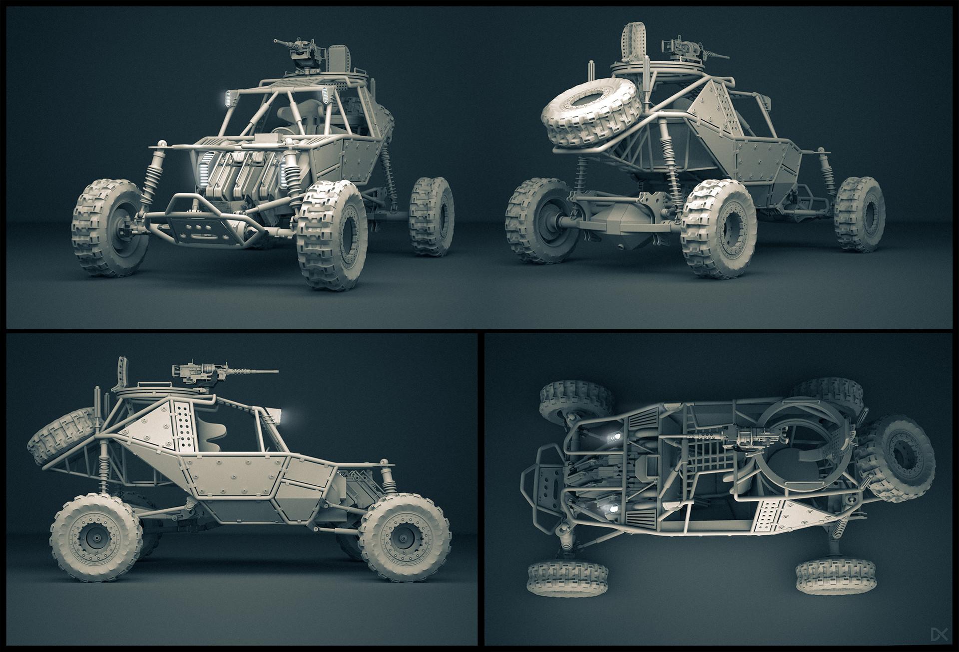 Darius kalinauskas buggy conceptart vehicle jungle abandoned clay render 2k