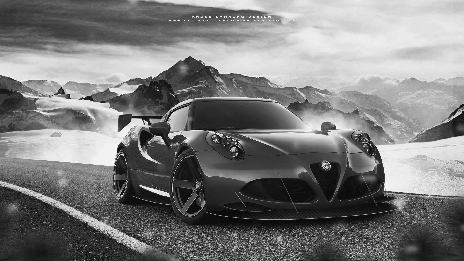 Andre camacho design alfa romeo 4c black and white