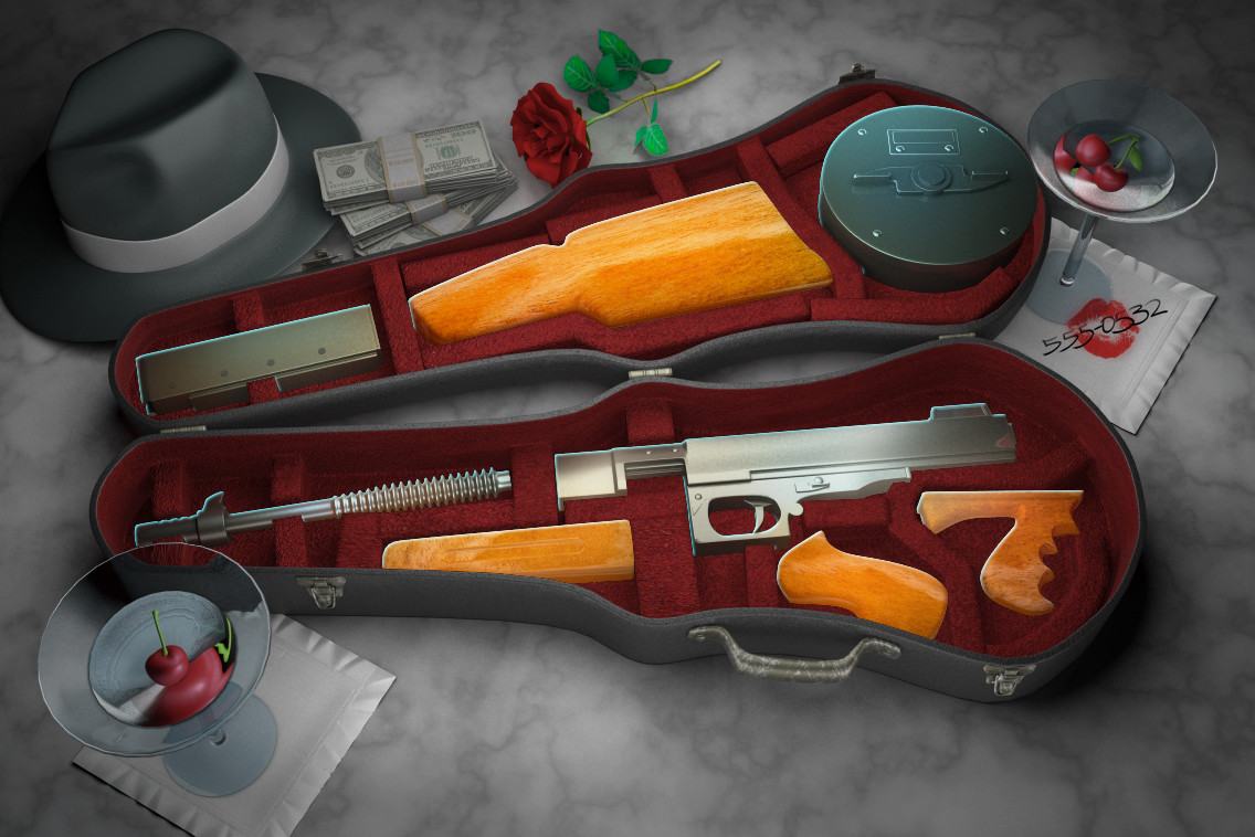 Mafia bonus game background and tappable gun parts