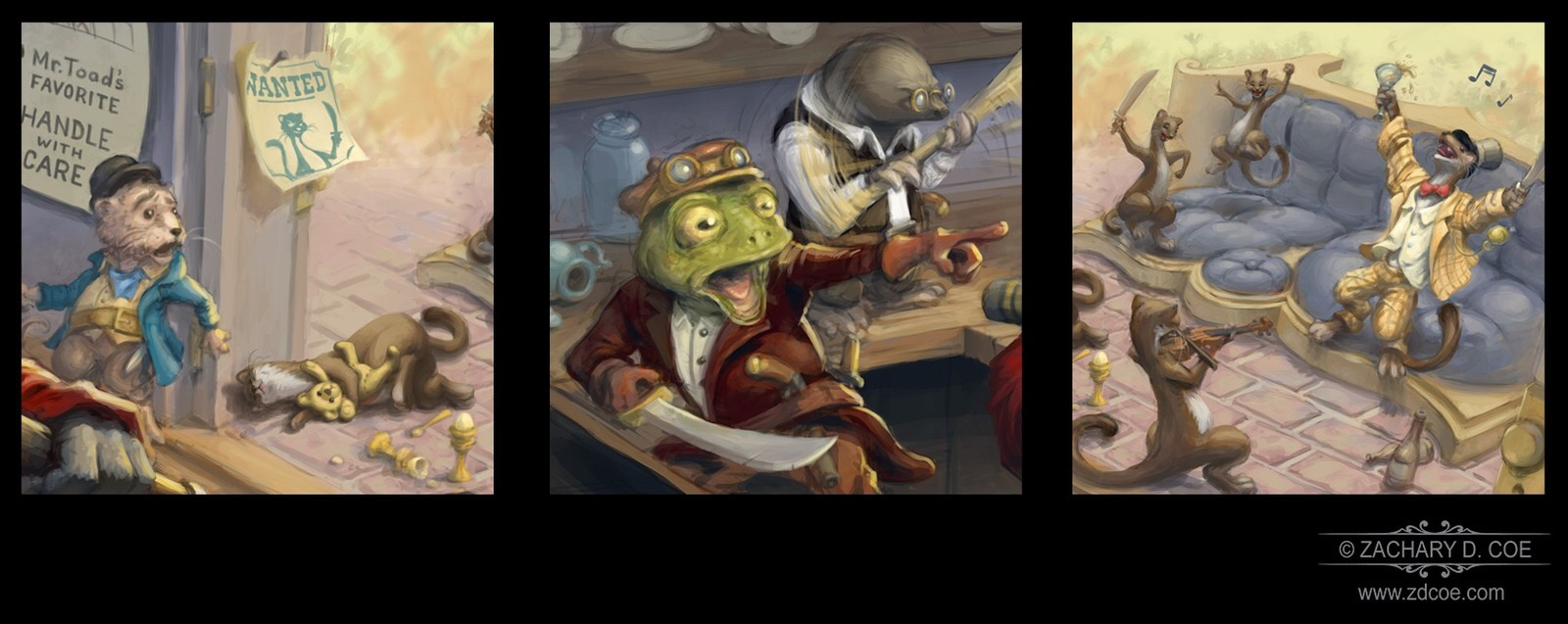 TAKING BACK TOAD HALL! Bookmark Art Close Ups by Zachary D. Coe