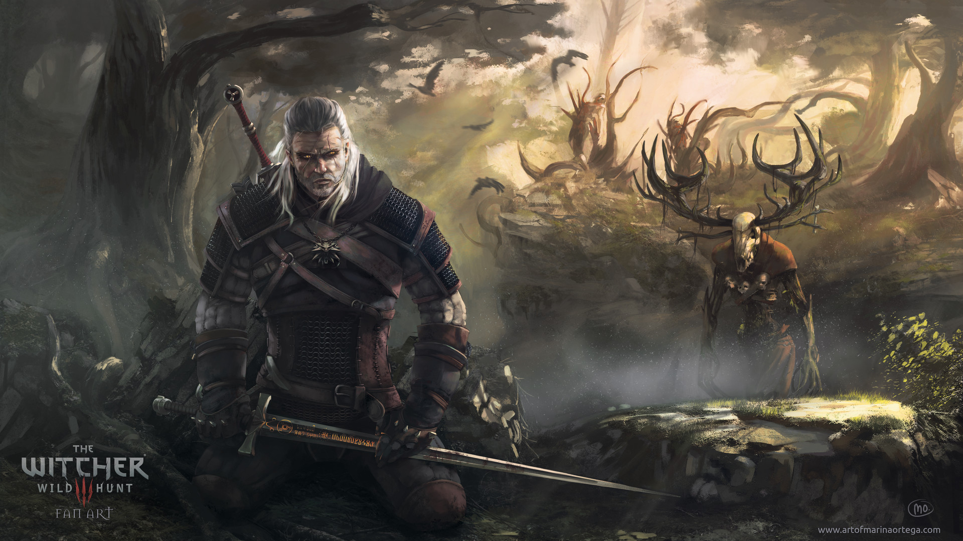 Geralt and leshen fan art