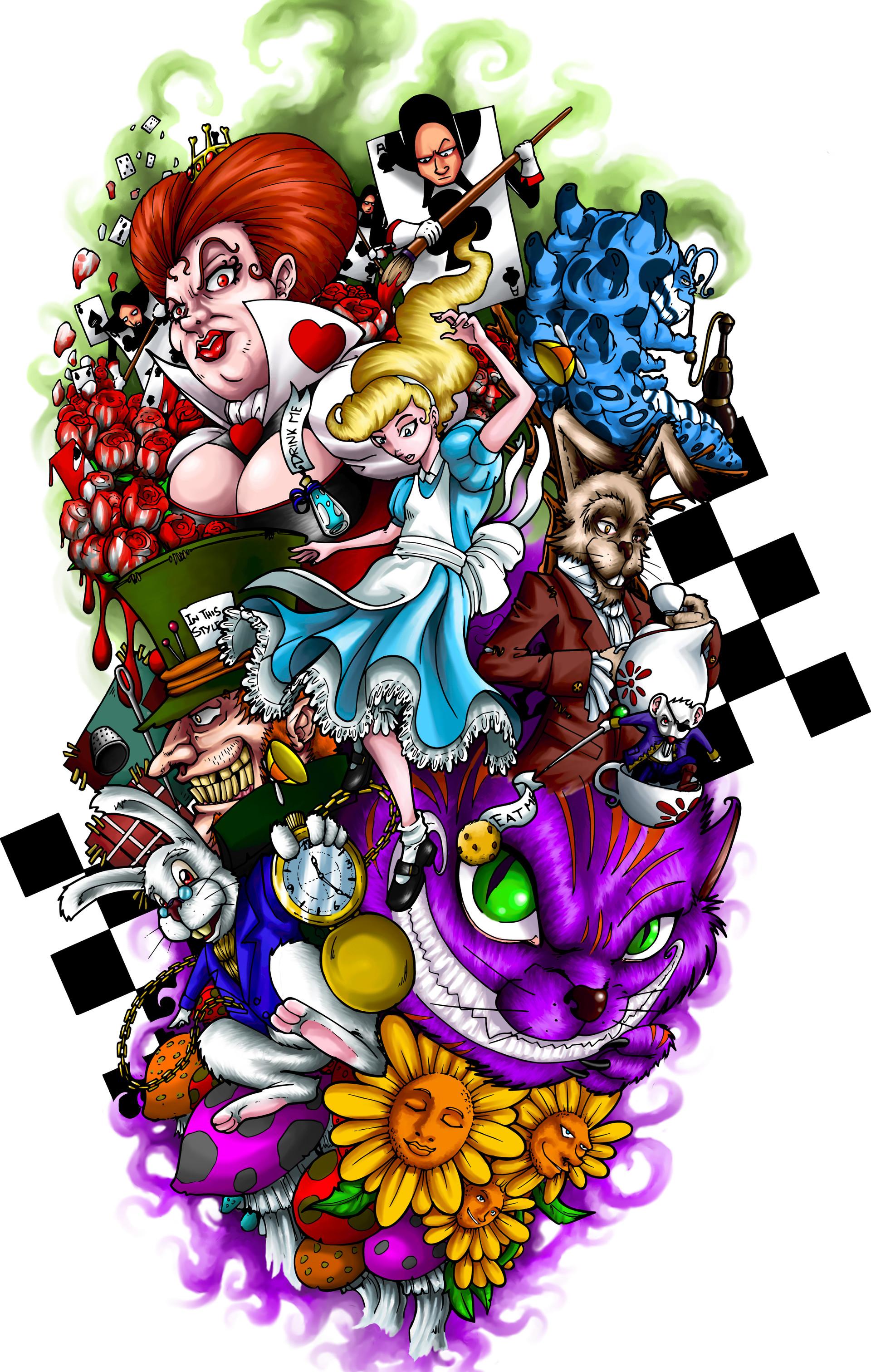Gabriel Cardozo Alice In Wonderland Tattoo Design