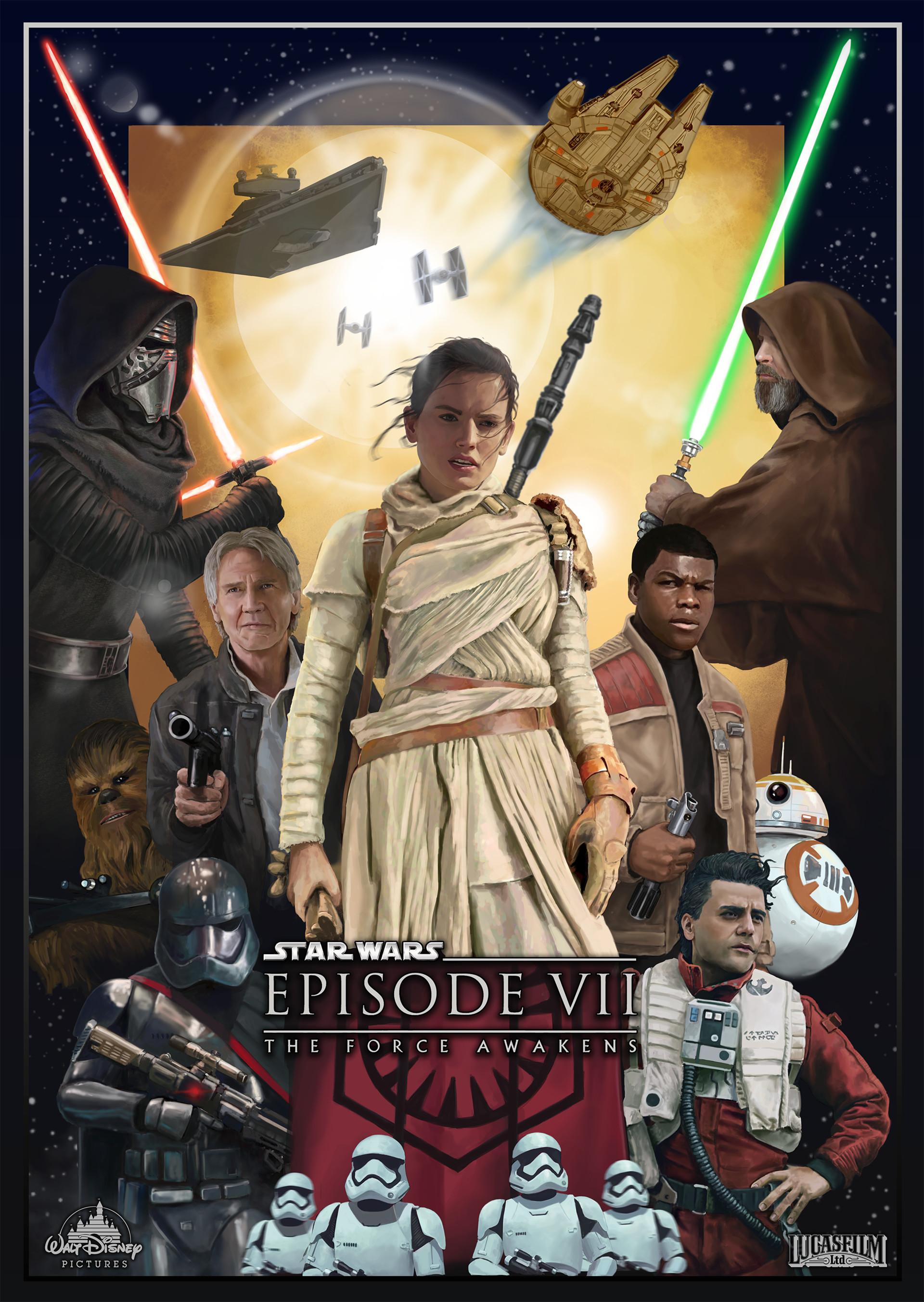 artstation star wars the force awakens fanart poster dmitriy