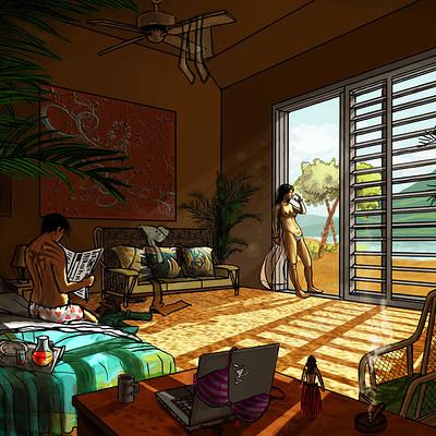 Elias santos habitacion en hawaii by santosart